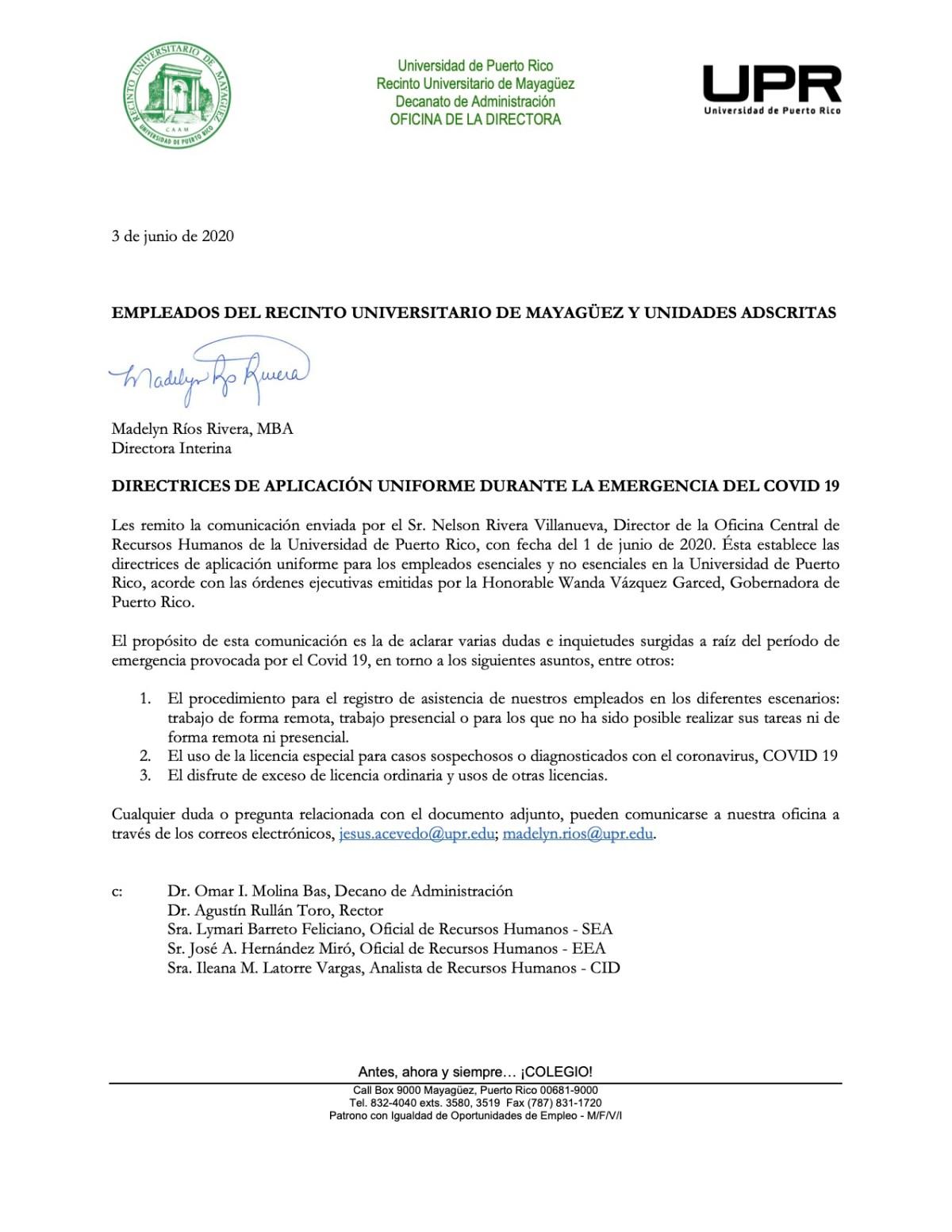 directrices recursos humanos reinicio labores UPR