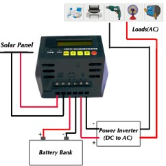 Solar Panel Regulator Wiring Diagram Rectifier Power Charge Controller - Ups Battery Center