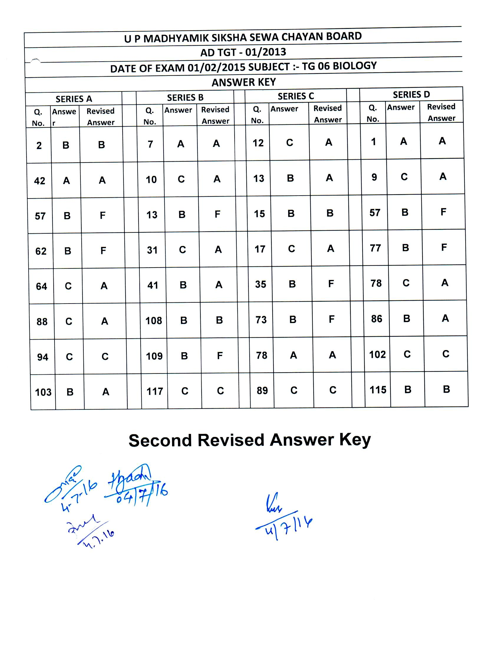 UPSESSB TGT PGT 2011 Exam Answer Key 2016 Download Now