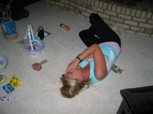 This depicts a typical holiday with my family. Rolling on the floor kinda laughs. This one appears to be Easter. Funny Bunny?