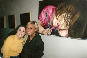 Leah and I at one of my art exhibitions, the subject of my work being awareness of the abilities of all people