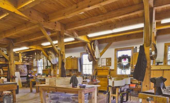 Early winter picture of the upton bass upright bass making workshop in mystic connecticut
