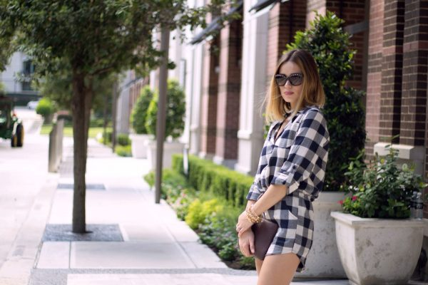 Gingham romper outfit