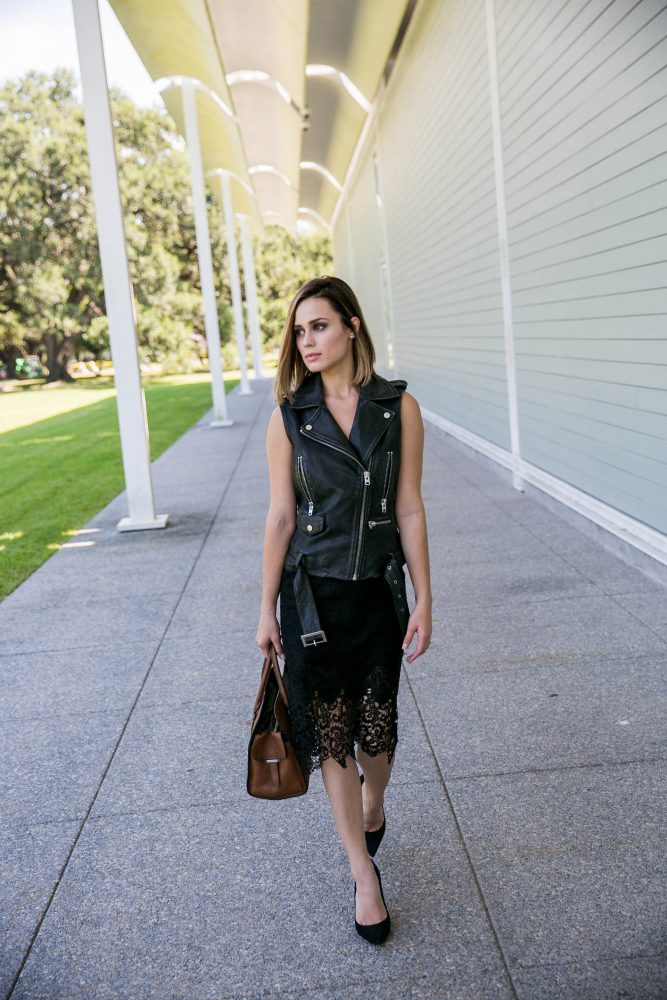 Leather and lace outfit