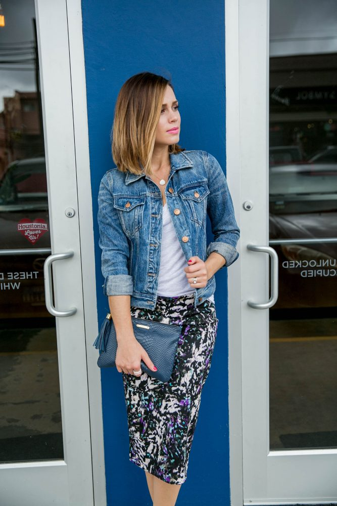 How to style a Denim Jacket with a pencil skirt