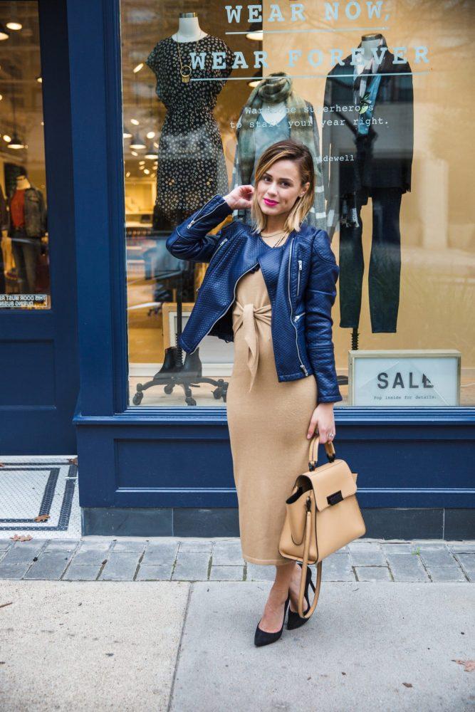 blue leather jacket