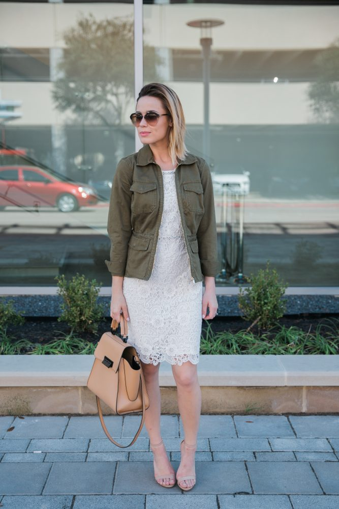 white lace dress and utility jacket Utility and lace look