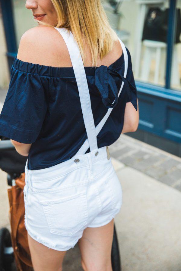 how to wear denim short overalls