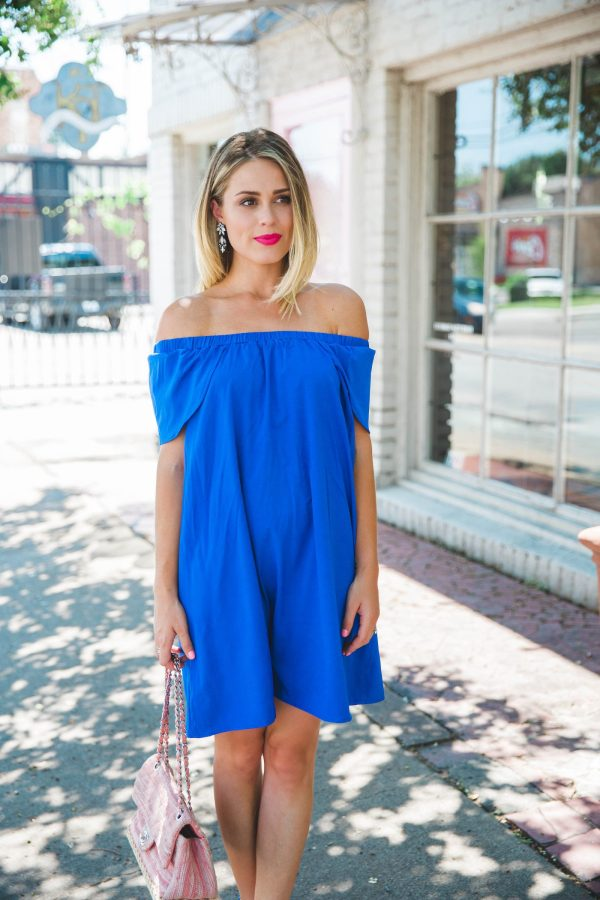 Pink and blue | Summer look | Summer Chic | Off the shoulder Dress | Uptown with Elly Brown
