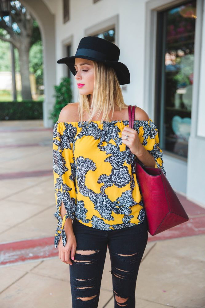 OFF THE SHOULDER TIE SLEEVE BLOUSE   Fall Inspiration   Women's Street look