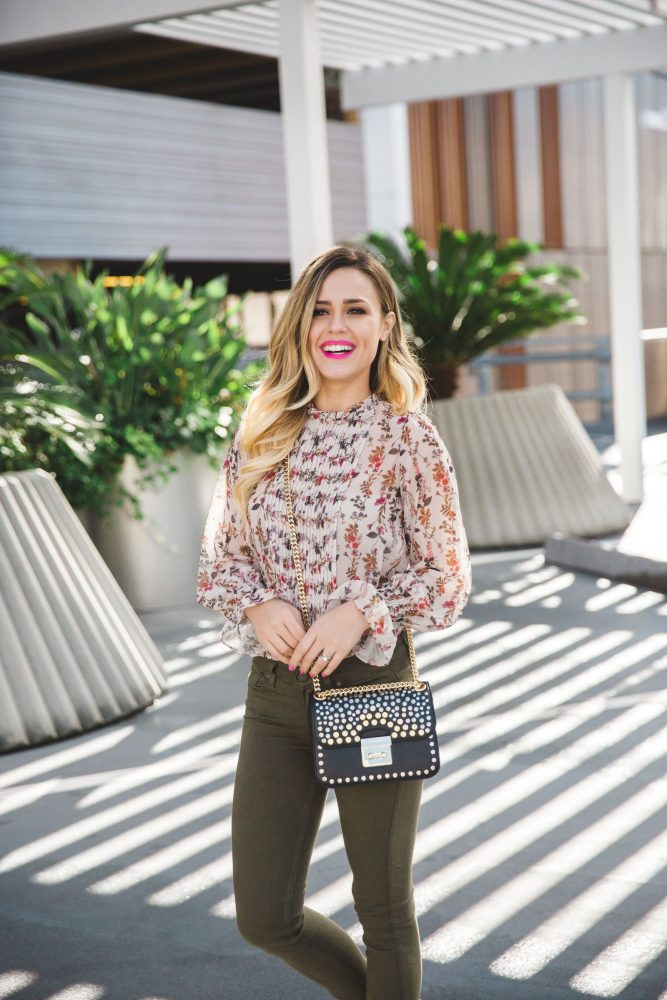 How to wear colored jeans | floral top outfit | Uptown with Elly Brown