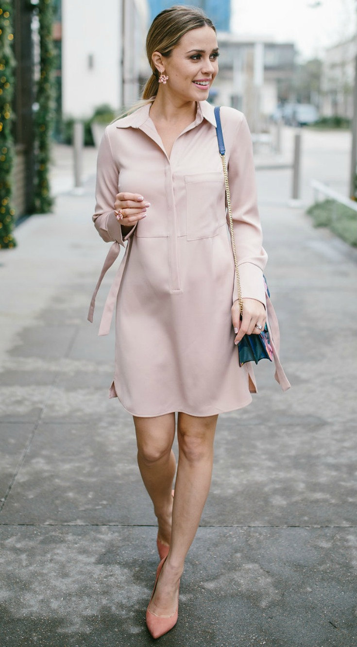 Valentine's Day   Valentine's outfit   Pink   Pink Dress   Maternity Fashion   Uptown with Elly Brown