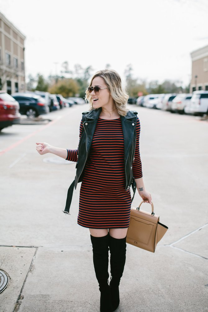Striped Dress | OTK boots | Maternity Outfit | Uptown with Elly Brown
