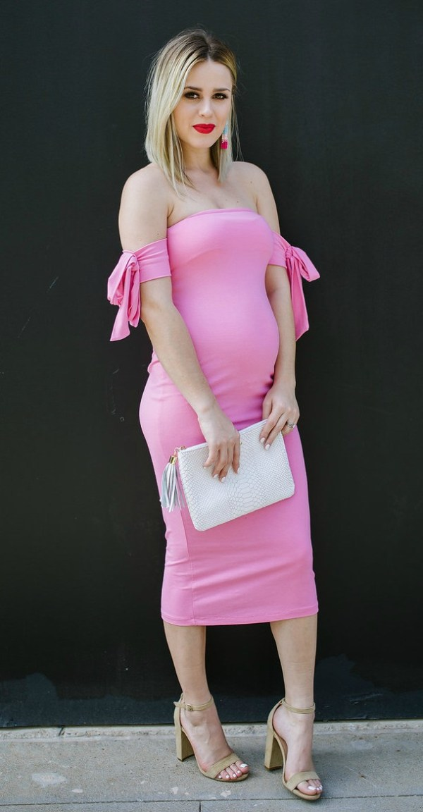 Pink Dress   Maternity Dress   Maternity outfit   Uptown with Elly Brown