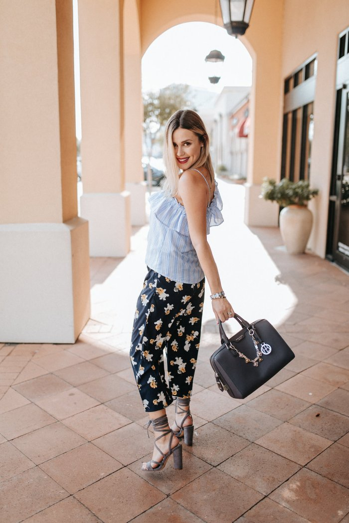 How to Wear Floral Pants by Houston fashion blogger Uptown with Elly Brown