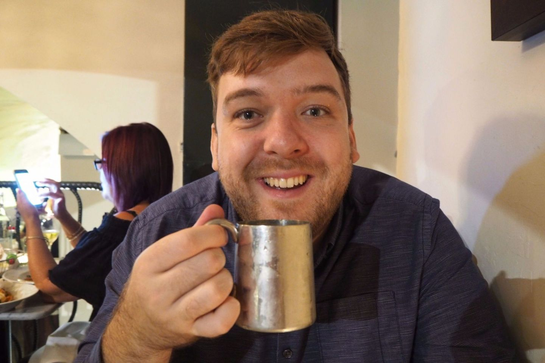 Sam drinking
