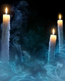 mystical background with candles for a party on Halloween