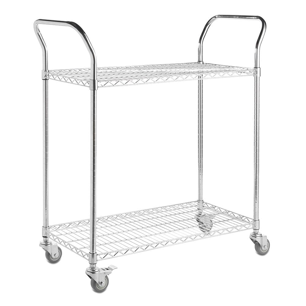 2-Tier Chrome Wire Service Trolley with 2 Handles