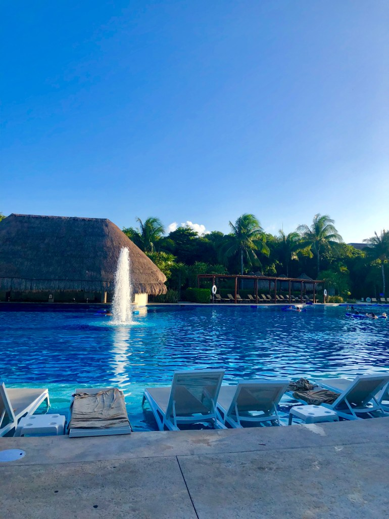 The Valentin Imperial Riviera Maya has one of the biggest pools in Mexico! It's amazing.