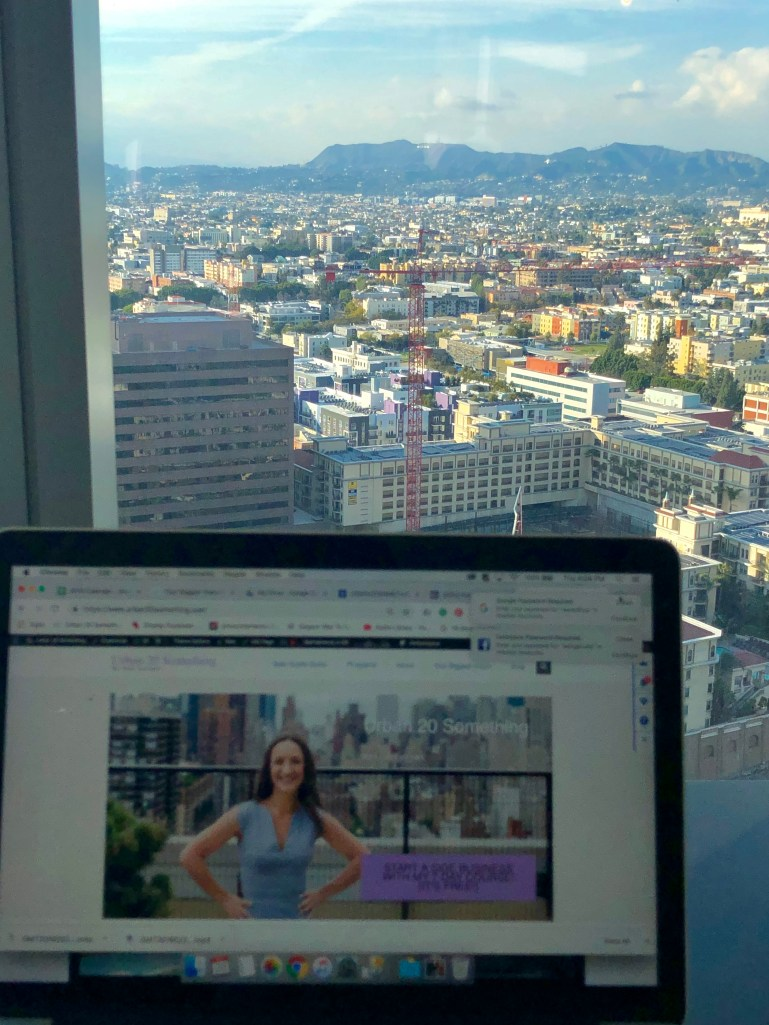 I love having a laptop lifestyle! Here's the view of me working from the InterContinental Los Angeles Downtown of the Hollywood Hills