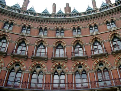 Windows and chimneys, Midland Grand, St Pancras railway station, June 2003 London UK