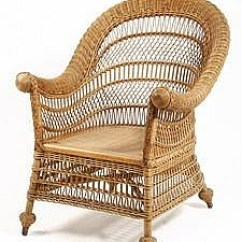 Heywood Wakefield Wicker Chairs Upholstered Dining With Nailheads A Gaggle Of Interests Oct 11 2009 Urban Art And Antiques Web Lot 554 Natural Finish Armchair From Thomaston Place Auction Galleries