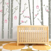 Birch Tree Decal, Birds Wall Sticker Set, Baby Nursery