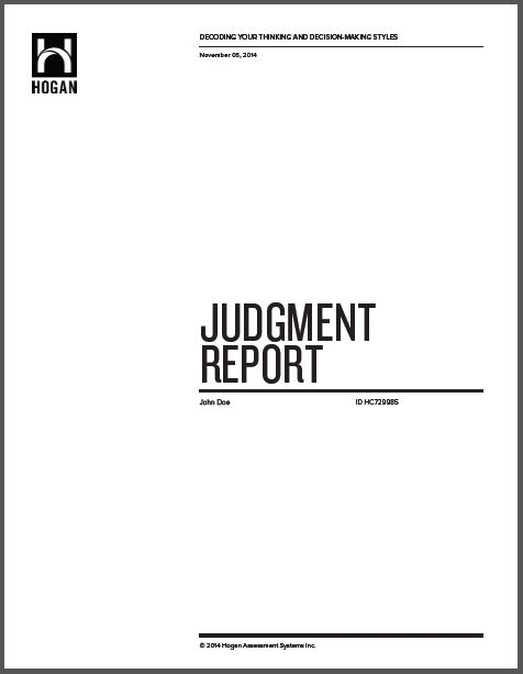 Hogan Judgement Report with 1 Hour Debrief Session