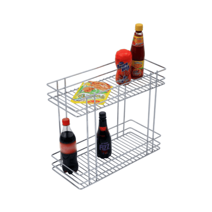 DOUBLE PULL-OUT BASKET (17″ HEIGHT X 4″ WIDTH X 20″ DEPTH) 6MM WIRE STAINLESS STEEL