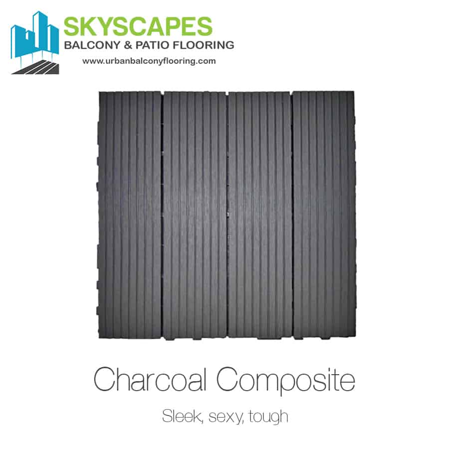 "Charcoal WPC tile, face-on view showing dark grey coloured 1x1 foot tile with four slats. ""Sleek, sexy, tough,"" wriiten below tile name. Outdoor Floor Tiles and Installation from Skyscapes Urban Balcony Flooring."