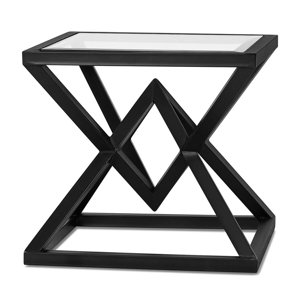 mirrored pyramid living room accent side end table cream furniture ideas glass images