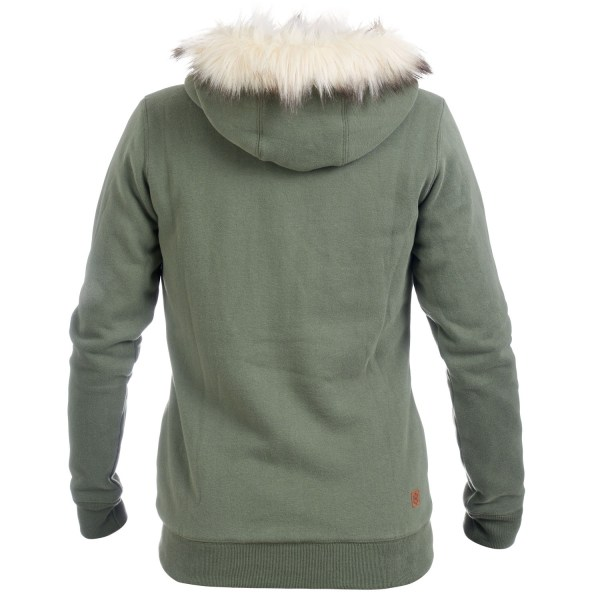 Womens Khaki Fur Lined Zip Hoodie Isabel- Free Delivery