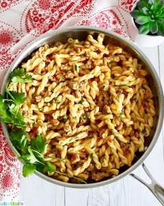 Tri-Pepper Turkey Pasta full photo in skillet