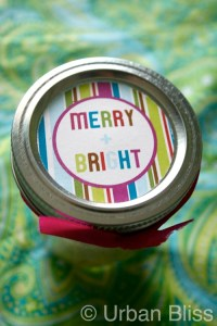 Merry & Bright gift tag circle printable