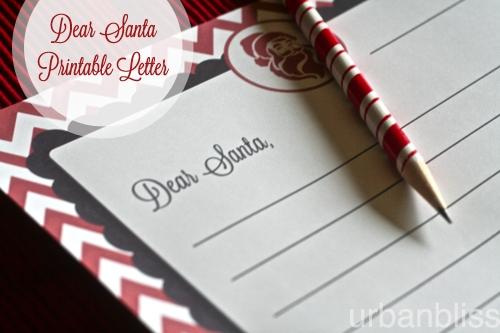 Dear Santa Letter Printable by Urban Bliss