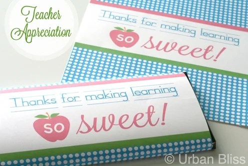 Teacher Appreciation Week Printable 4 of 5: Candy Bar Wrapper