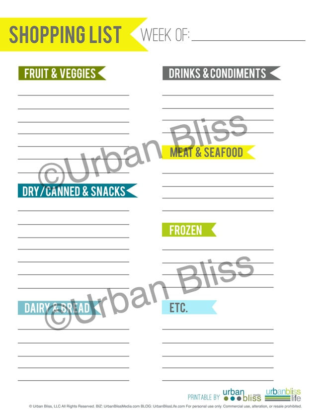 Meal Planner - Shopping List - ©UrbanBliss