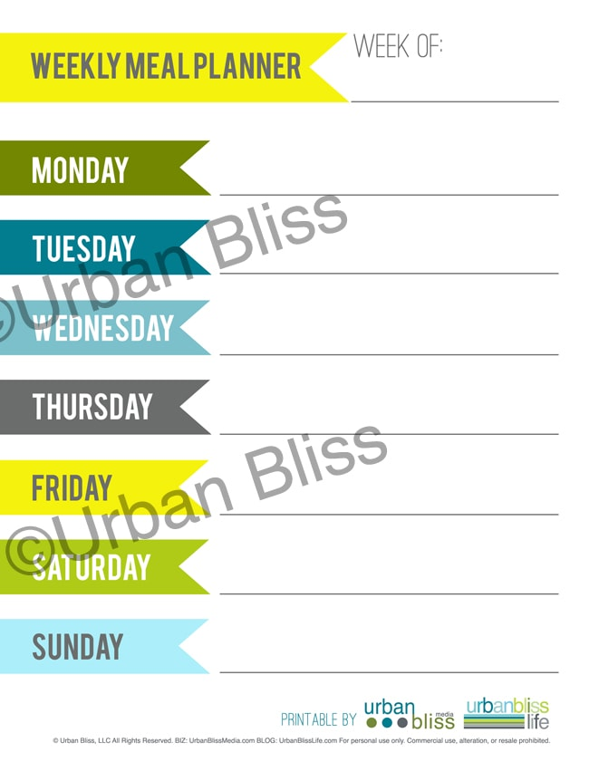 Meal Planner - Weekly - ©UrbanBliss