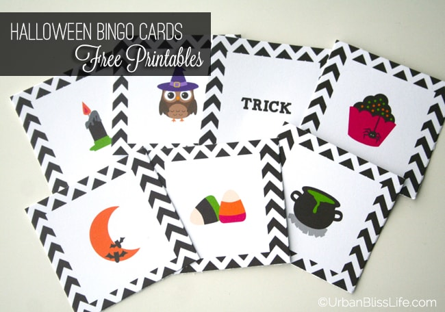 FREE Halloween Bingo Card Printables by Urban Bliss