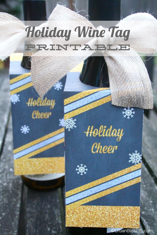 Urban Bliss Holiday Wine Tag Printable