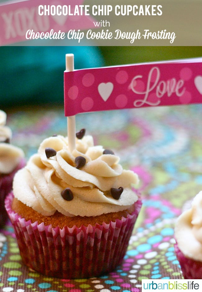 Chocolate Chip Cupcakes with Chocolate Chip Cookie Dough Frosting