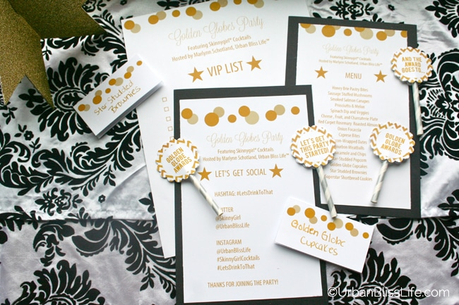 Golden Globe Awards Party Printables by ©Urban Bliss