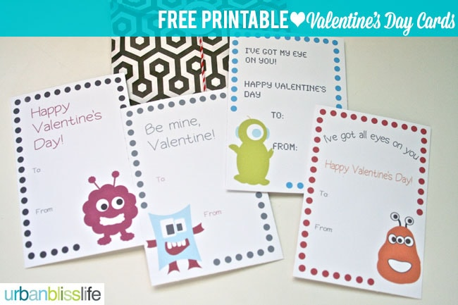 [Free Printable Week] Silly Monster Valentine's Day Cards