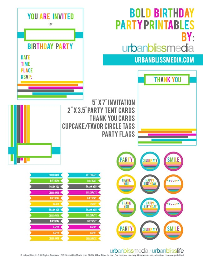 Bold Rainbow Birthday Party Printables
