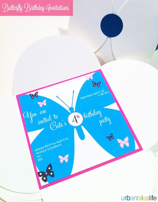 Butterfly birthday invitations