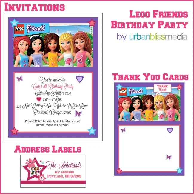 Lego Friends Birthday Party Invitations Thank You Cards