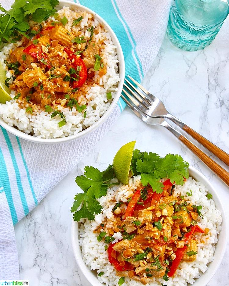 finished thai peanut curry recipe plated