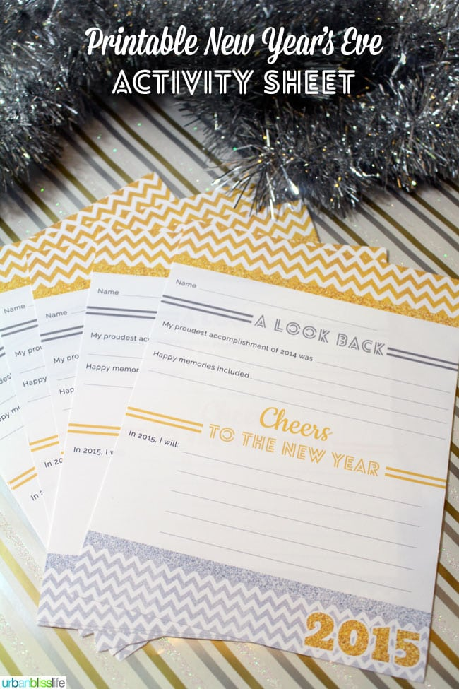 Free Printable New Year's Eve Activity Sheet