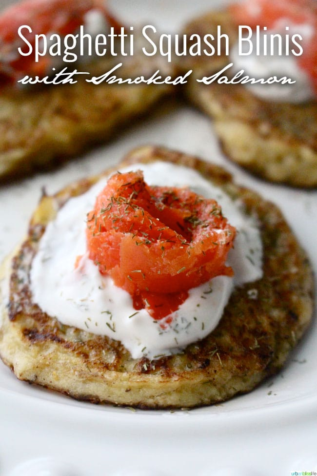 Spaghetti Squash Blinis with Smoked Salmon