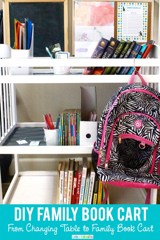 DIY Upcycled Changing Table to Book Cart